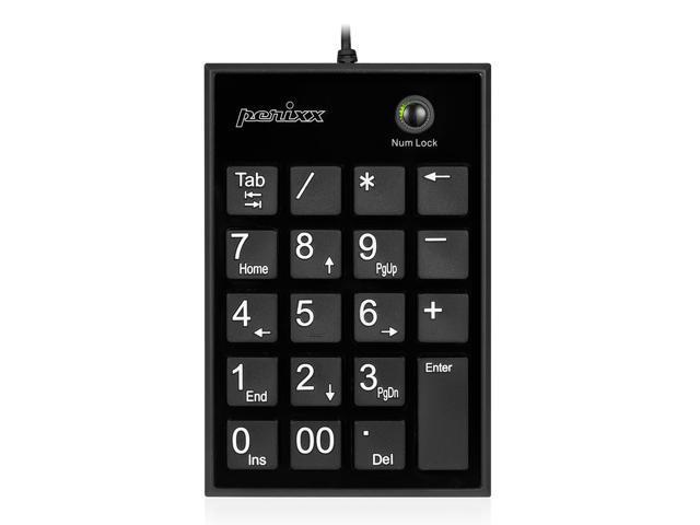 Perixx PERIPAD-202HB, Numeric Keypad for Laptop - USB - Built-in 2xUSB Hub - Tab Key Feature - Full Size 19 Keys - Big Print Letters - Silent X Type Scissor Keys - Black