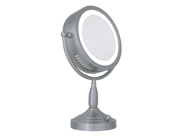 zadro rdv68 lighted 8x 1x round satin nickel bathroom vanity mirror. Black Bedroom Furniture Sets. Home Design Ideas