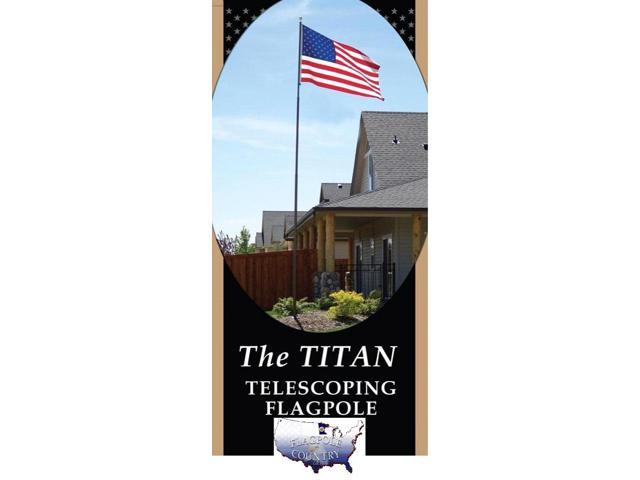 20' Telescoping Silver TITAN Flagpole w/ Flag