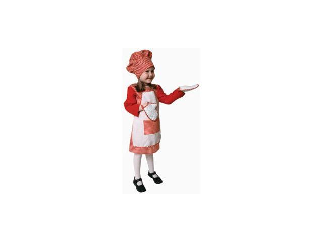 Pretend Red Gingham Girl Chef Toddler Costume Dress-Up Set Size 2T