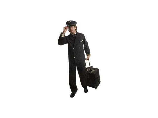Airline Pilot w/ Jacket Deluxe Adult Costume Size Small
