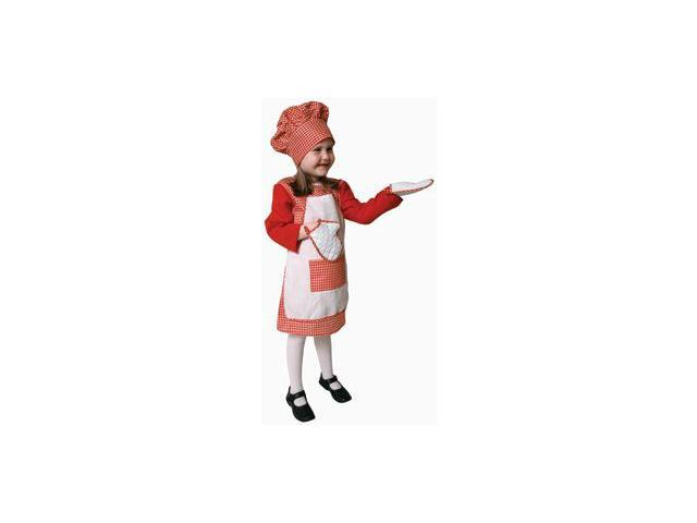 Pretend Red Gingham Girl Chef Toddler Costume Dress-Up Set Size 4T
