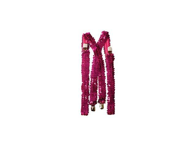 Hot Pink Sequined Suspenders Accessory