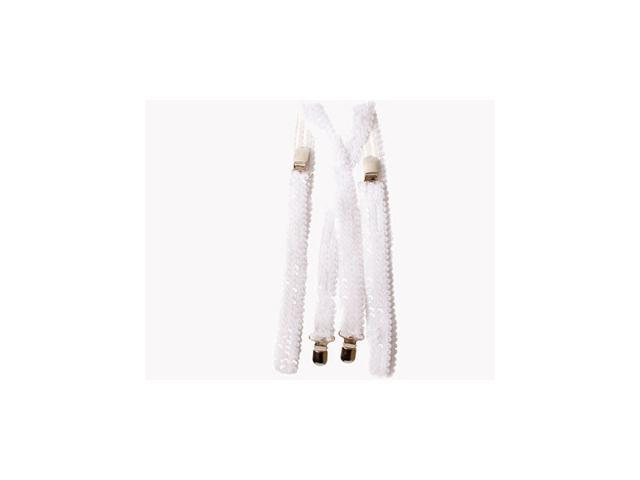 White Sequined Suspenders Accessory