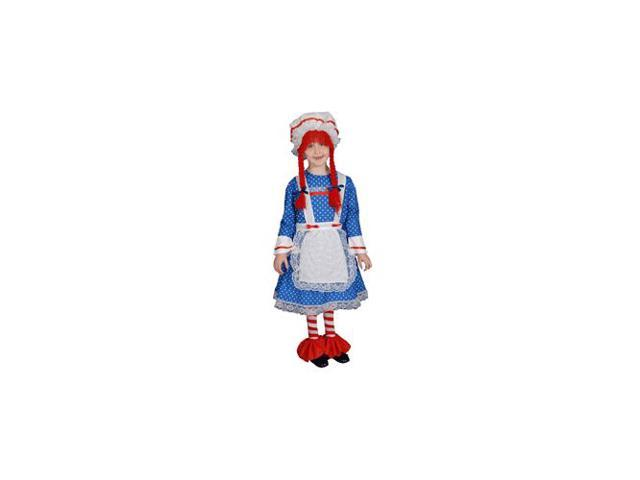 Pretend Rag Doll Girl Child Costume Dress-Up Set Size 4T