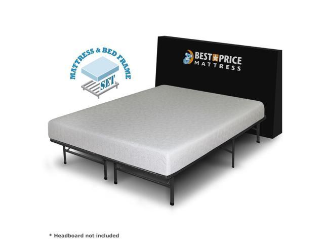 Queen 7-inch Gel Memory Foam Mattress + Bed Frame Set