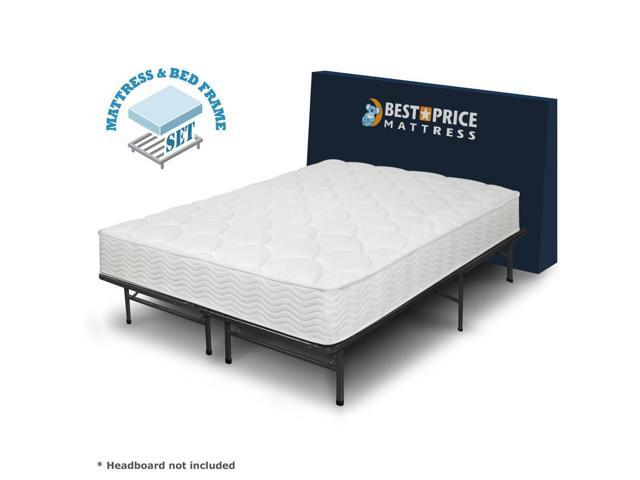 8 tight top spring mattress and bed frame set twin no box spring need. Black Bedroom Furniture Sets. Home Design Ideas