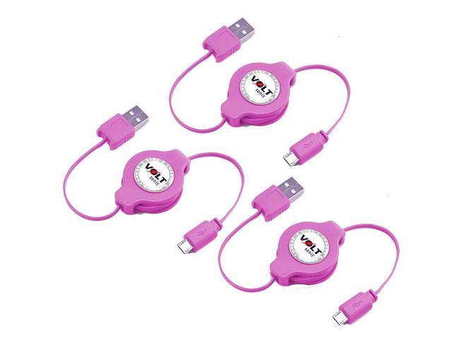 Voltsonic Retractable Data Cable Sync & Charge Micro-USB to USB 2.0 - 3 Pack