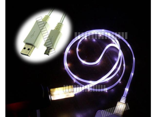 White Purple Light 3Ft 1M Illuminating Cable Micro USB Male to USB Male Data Sync & Charge for Samsung Galaxy S5 GS5 Sv G900 ...