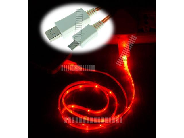 Red 3Ft 1M Illuminating Light Cable Micro USB Male to USB Male Data Sync & Charge for Samsung Galaxy S5 GS5 Sv G900 S3 S4 ...