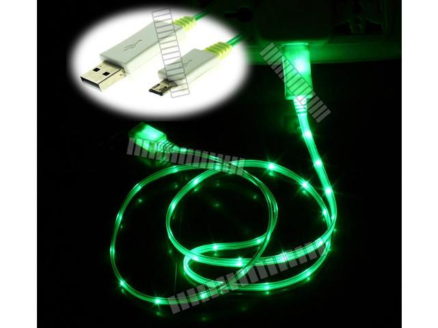 Green 3Ft 1M Illuminating Light Cable Micro USB Male to USB Male Data Sync & Charge for Samsung Galaxy S5 GS5 Sv G900 S3 S4 Siv LTE Note 2 II 3 III 8.0 Tab 3 III LG Optimus G Sony Xperia HTC -OEM