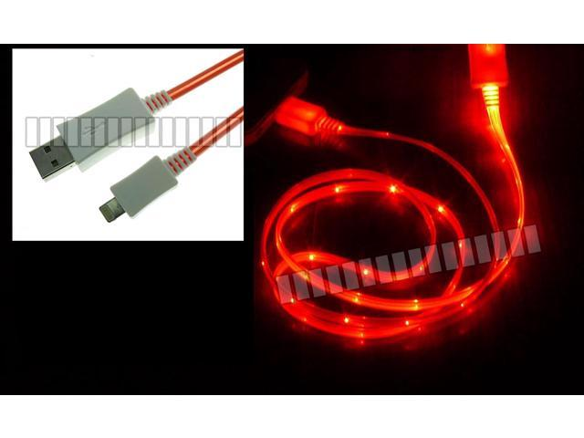 Red 1M 3.3Ft Micro USB Cable + Micro USB Female to 8 Pin Lightning Male Adapter Data Sync Charge Cable Illuminating LED Light ...