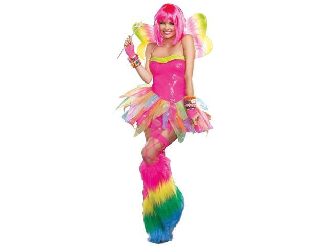 Rainbow Fairy Costume 9566 by Dreamgirl Pink Medium