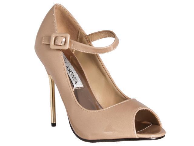 Lasonia Womens Peep Toe Mary Jane Style Stiletto Heels, Nude Patent, Size 8