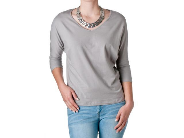 FEMME by Tresics Women's V-Neck Half Sleeve Dolman Top, Grey, Size Large