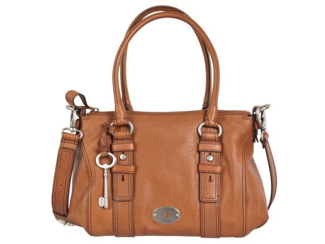 Fossil Maddox Leather Satchel, Chestnut
