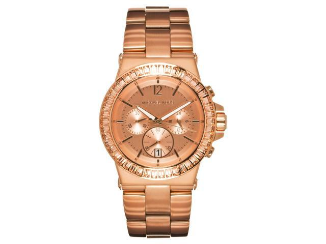 Michael Kors Womens Dylan Rose Gold-tone Stainless Steel Chronograph Watch