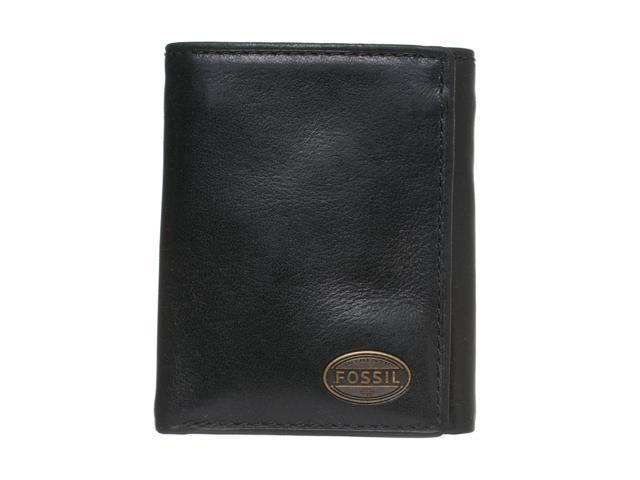 Fossil Mens Estate Zip Leather Trifold Wallet, Black