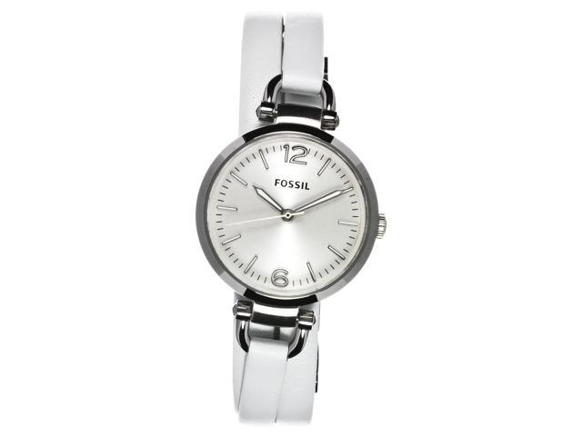 Fossil Women's Georgia White Leather Strap Watch