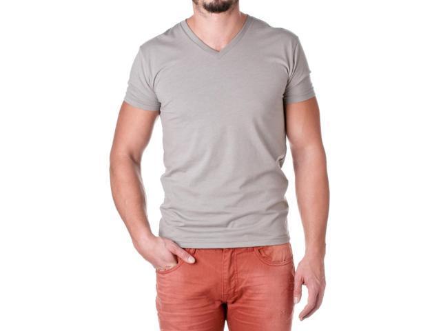 Next Level Apparel Men's Premium Cotton Blend V-Neck Shirt, Stone Grey, Size Medium