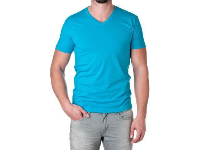 Next Level Apparel Men's Premium Cotton Blend V-Neck Shirt, Turquoise, Size Medium