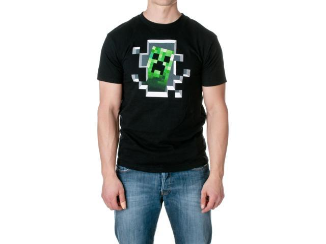 JINX Men's Minecraft Creeper Inside Cotton T-Shirt, Black, Size Large