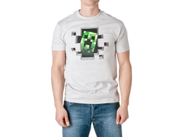 JINX Men's Minecraft Creeper Inside Cotton T-Shirt, Silver, Size X-Large
