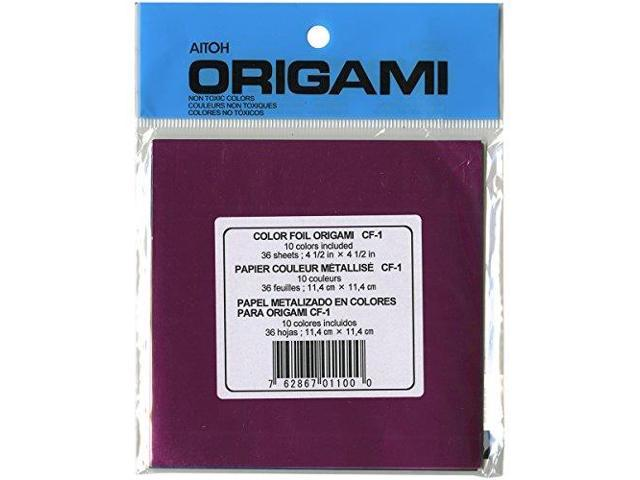 Aitoh CF-1 Foil Origami Paper, 4.5-Inch by 4.5-Inch, 36-Pack