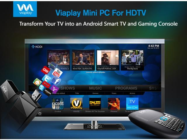 Viaplay Via-TV T1H1 Android Mini PC Smart TV Stick Dongle Box Dual Core Cortex - KODI(XBMC) 16.1 JARVIS Fully Loaded with Wireless Smart Controller