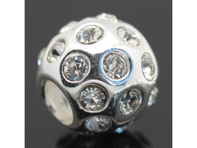 White Clear Crystal Zircon 925 Sterling Silver European Charm Bead for Pandora Bracelet Necklace