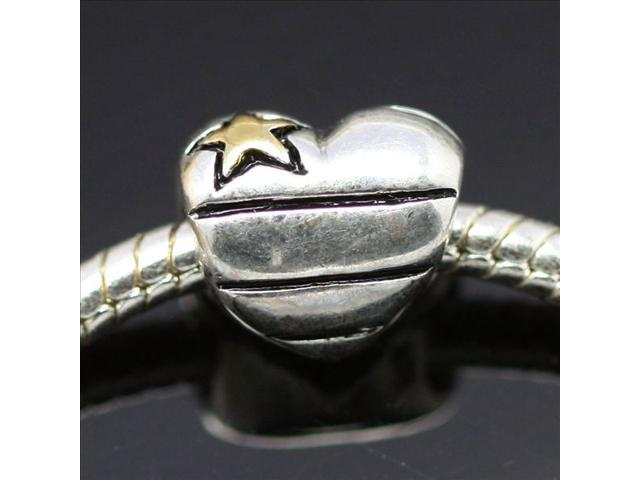 About 14KP Star&Heart European Charm Sterling Silver Bead fit Pandora Bracelet Necklace
