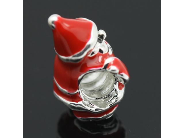 Red Santa Claus European Charm 925 Sterling Silver Bead fit Pandora Bracelet Necklace Chain