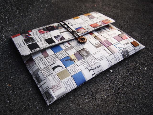 Paralife Custom Handmade Newspaper Computer Tablet Laptop bag pouch sleeve case cover purse for Apple iPad mini (can also ...