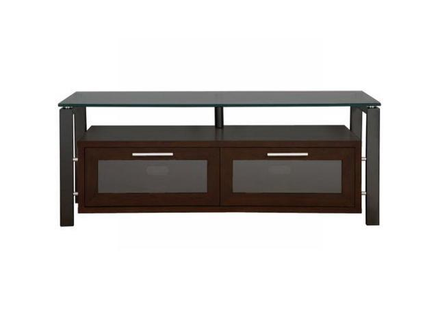 Plateau Decor 50 Video Cabinet - Espresso with Black Frame and Black Glass