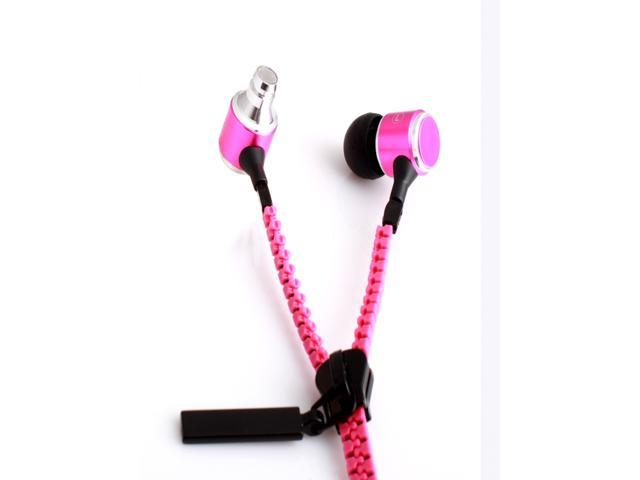 KingTime Pink 3.5mm plug in-ear stereo zip metal earphones for iphone, ipod, ipad,samsung,headphones with microphone wireless