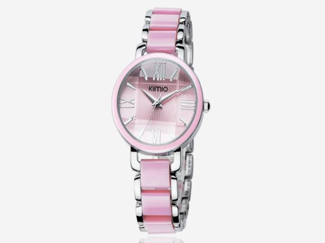 Elegant Resin Steel band Wrist Watch Bracelet Bangle Style For Lady Woman