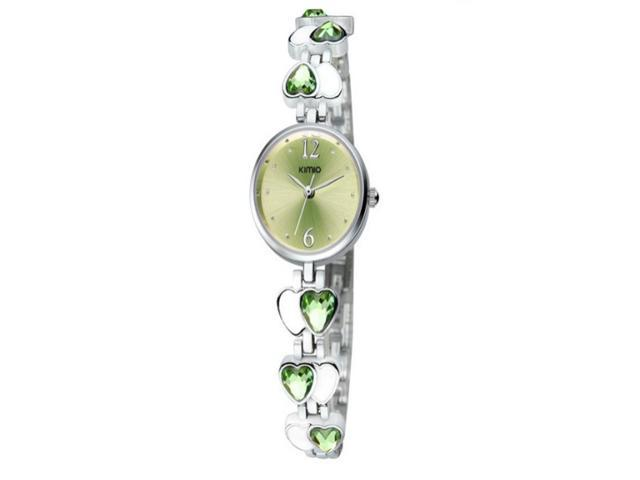 Elegant Heart Stone Alloy Band Life Waterproof Quartz Wrist Watch Best Gift for Lady Girlfriend