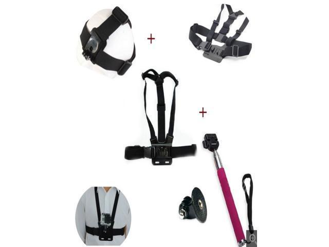 Helmet Head Strap Belt Mount + Chest Shoulder Strap + Self-portrait Monopod W/ Tripod Mount for Gopro Hero HD Camera