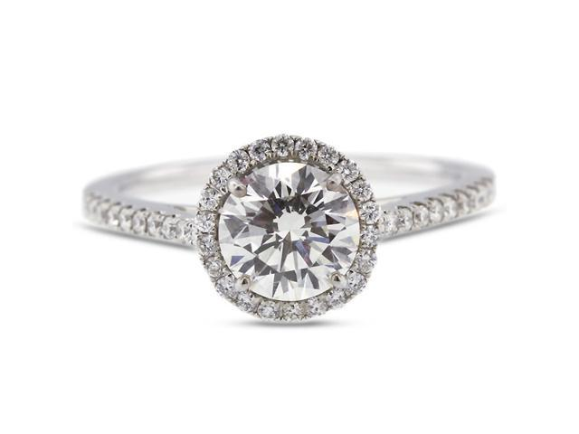 1.44 Carat Excellent Cut Round F-VS2 Diamond 18k White Gold Micro Pave Engagement Ring 2.86gm