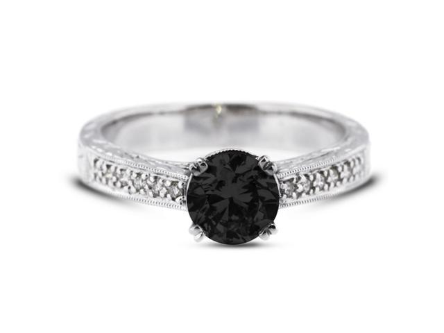 1.40 Carat Excellent Cut Round Black Diamond 14k White Gold Pave Engagement Ring 3.87gm