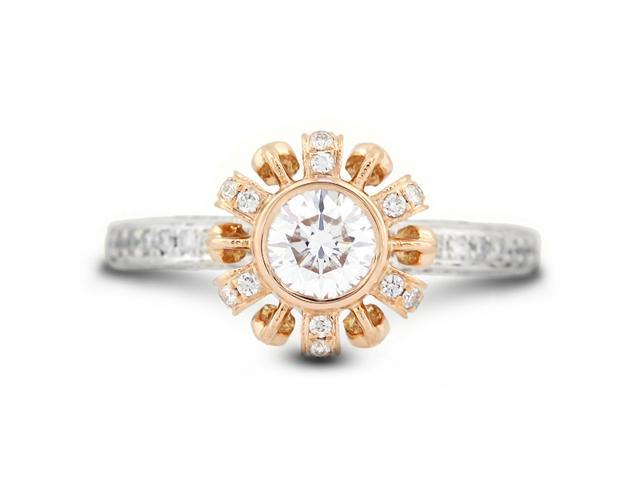 1.15 Carat Excellent Cut Round G-VS2 Diamond 18k Pink Gold#White Gold Micro Pave Engagement Ring 4.82gm