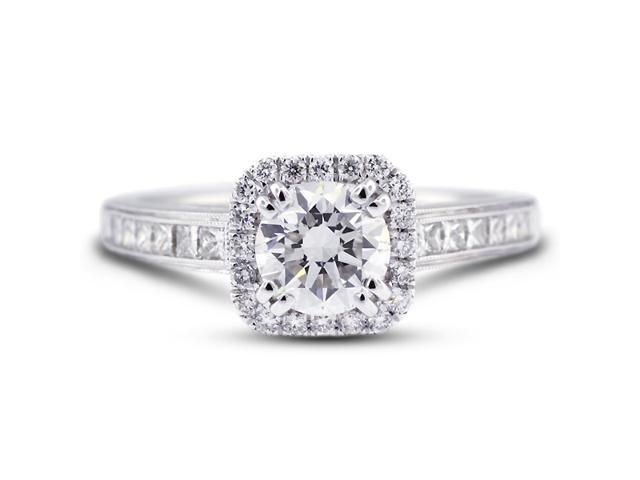 2.50 Carat Ideal Cut Round J-SI1 Diamond 18k White Gold Micro Pave & Channel Engagement Ring 3.94gm