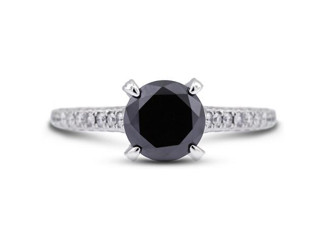 2.08 Carat Excellent Cut Round Black Diamond 18k White Gold Micro Pave Engagement Ring 3.64gm