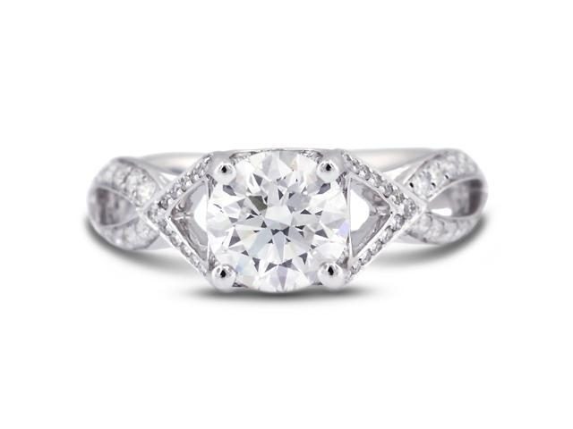 2.18 Carat Excellent Cut Round H-SI2 Diamond 18k White Gold Micro Pave Engagement Ring 3.63gm