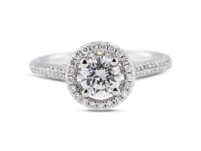 1.55 Carat Ideal Cut Round J-SI1 Diamond 18k White Gold Micro Pave Engagement Ring 4.22gm
