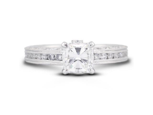 1.85 Carat Excellent Cut Radiant F-VS2 Diamond 18k White Gold Micro Pave & Channel Engagement Ring 4.01gm