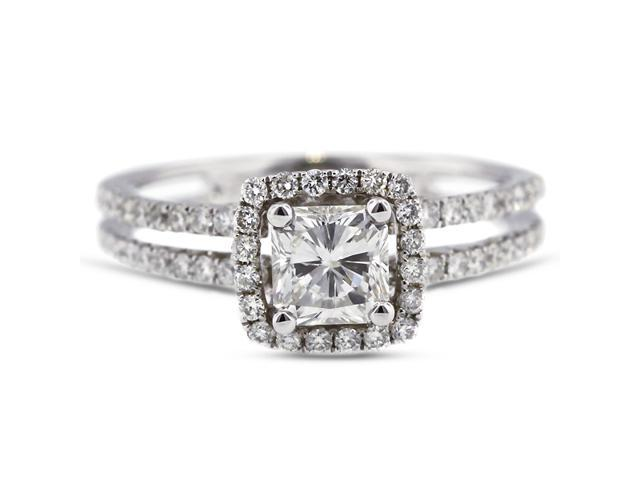 2.11 Carat Excellent Cut Radiant J-SI2 Diamond 18k White Gold Micro Pave Engagement Ring 3.56gm