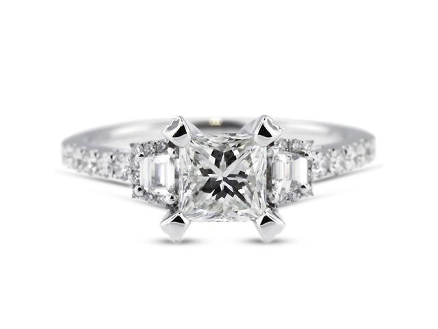 2.95 Carat Ideal Cut Radiant H-SI2 Diamond 18k White Gold Micro Pave Engagement Ring 3.89gm