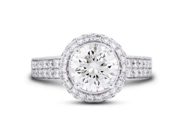 3.89 Carat Ideal Cut Round H-VS2 Diamond 18k White Gold Micro Pave Engagement Ring 6.90gm