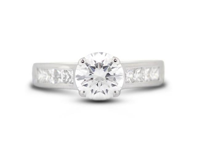 3.08 Carat Ideal Cut Round F-I1 Diamond 14k White Gold Channel Engagement Ring 6.01gm